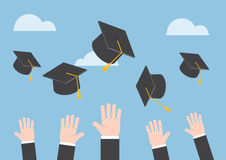 Businessman hands throwing graduation hat in the air Royalty Free Stock Image