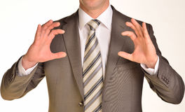 Businessman hands to hold gadget Stock Images
