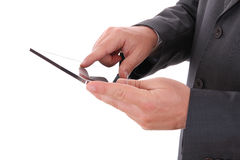Businessman hands with touch pad Royalty Free Stock Photo