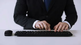 Businessman hands typing on keyboard Stock Photo