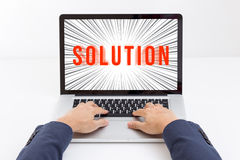 Businessman hands typing laptop computer Royalty Free Stock Photo