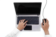 Businessman hands typing on laptop Stock Photography