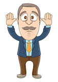 Businessman - Hands up. Vector Illustration of a businessman put his hands up Royalty Free Stock Image