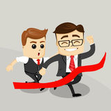 Businessman with hands up. Business Motivation Leadership. Happy Business man. Two business men. Running men. Vector illustration Royalty Free Stock Photos