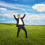 Businessman with hands up Stock Photos