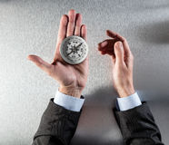 Businessman hands using a compass for vision or orientation symbol Royalty Free Stock Image