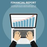 Businessman hands using laptop with financial report graph on monitor, online marketing and computer technology concept. Vector illustration Royalty Free Stock Images