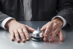 Businessman hands waiting at the reception Stock Photo