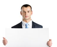 Businessman hands white paper copy space Stock Photos