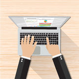Businessman Hands Working Laptop. Businessman Hands Working Laptop with wireless mouse. vector illustration on wooden background in flat design. top view Royalty Free Stock Photography