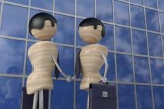 Businessman handshake. Business partners, 3d model Stock Photos