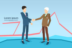 Businessman Handshake Business People Shaking Hand Deal. Financial Graph Background Flat Vector Illustration Royalty Free Stock Photos