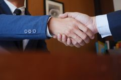 Businessman handshake  consulting  agree deal. Ing royalty free stock photos