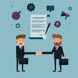 Businessman handshake and contract to sign on agreement paper. Stock Image