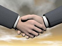 Businessman handshake - 3D render. Businessman handshake by beautiful brown sunset with clouds Royalty Free Stock Photography