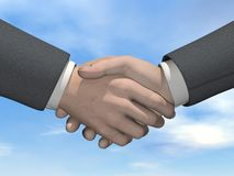 Businessman handshake - 3D render. Businessman handshake in beautiful cloudy day background Stock Image