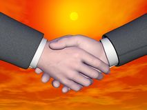 Businessman handshake - 3D render. Businessman handshake by beautiful red sunset with yellow sun Stock Image
