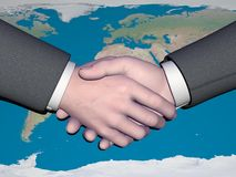 Businessman handshake - 3D render. Businessman handshake and nice world map - Elements of this image furnished by NASA Stock Photos