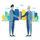 Businessman handshake deal . Flat style. Cartoon vector. Illustration stock illustration