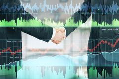 Businessman handshake and financial chart. Double exposure with two businessman shake hands and glowing financial chart graphs. 3D render Stock Photo