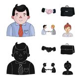 Businessman, handshake, portfolio, agreement.Business-conference and negotiations set collection icons in cartoon,black. Style vector symbol stock illustration Stock Image
