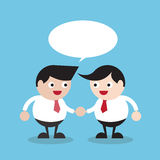 2 businessman handshaking with empty speech bubble, Business concept. Royalty Free Stock Images