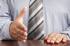 Businessman Handshaking Hand Deal Sitting Desk Royalty Free Stock Photo