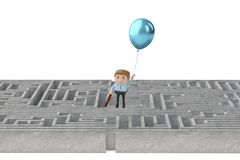 A businessman hanging on the balloons flying over the maze.3D il. Lustration Stock Photos
