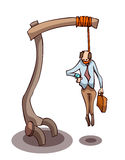Businessman Hanging from Gallows. Stock Photos
