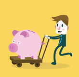 Businessman happy with big piggy bank. money saving . Business and investment concept. Royalty Free Stock Images