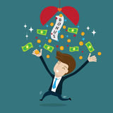 Businessman happy with bonus Royalty Free Stock Image