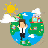 Businessman Happy business global , private world.  Stock Image
