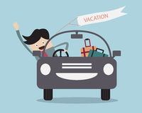 Businessman Happy In Car on his Vacation Royalty Free Stock Image