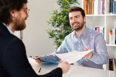 Businesspeople very happy after successful negotiation Stock Images