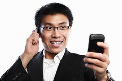 Businessman happy expression when using video call Stock Images