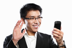 Businessman happy expression when using video call Stock Photos