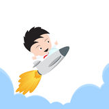 Businessman happy and flying with rocket for growing business start up on white background, illustration vector in flat design Royalty Free Stock Image