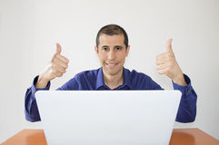 Businessman happy. For getting a business online Stock Photography
