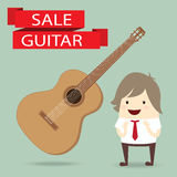 Businessman is happy, with guitar on sale Stock Image