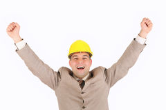 Businessman with happy hands raised Royalty Free Stock Photo