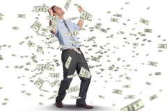 Businessman happy with his falling money. Digital composite of business models with falling money Stock Photography