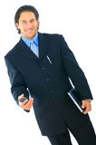 businessman happy isolated walking young Στοκ Εικόνες