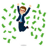 Businessman Happy Jumping Money Royalty Free Stock Photography