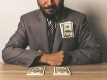 Businessman happy with many dollar banknote, business success co stock photo