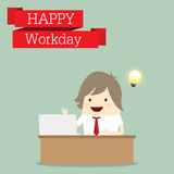 Businessman is happy at the monday after relax time, business co Royalty Free Stock Images