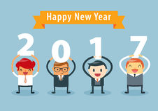 Businessman Happy New Year. Businessmen holding 2017 letters, New year vector illustration. happy new year concept Stock Photos
