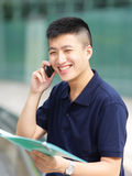 Businessman happy in phone call. Casual businessman happy in phone call royalty free stock image