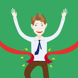 Businessman is happy and smiling that I won and came first to th. Businessman is happy and smiling that I won Royalty Free Stock Image