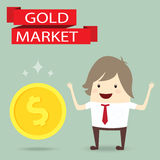 Businessman is happy strategy gold marketing, business concept Royalty Free Stock Image