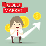Businessman is happy strategy gold marketing, business concept Stock Photography